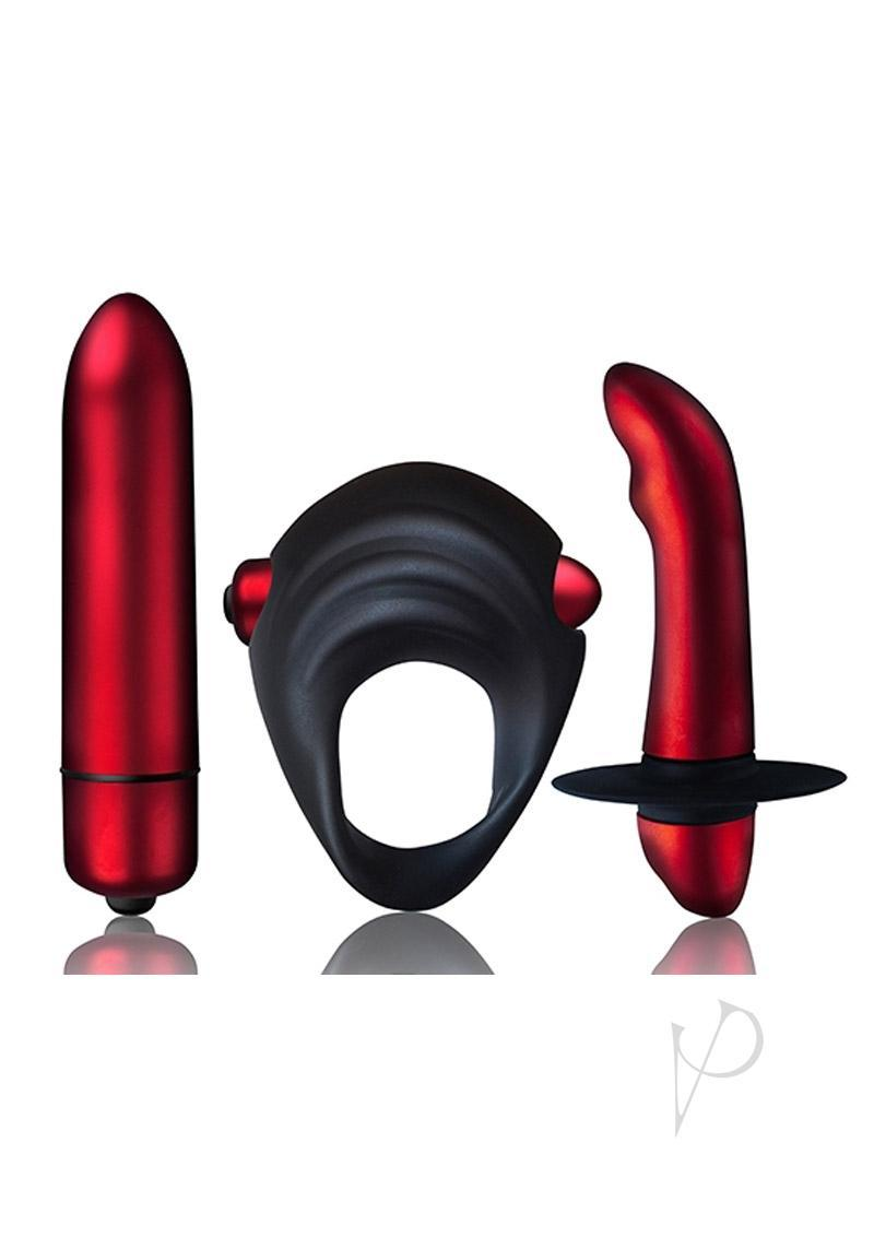 Truly Yours Red Temptations Kit Couples Play Vibrating Prostate Stimulator Truly Yours Bullet Vibrating Pleasure Ring