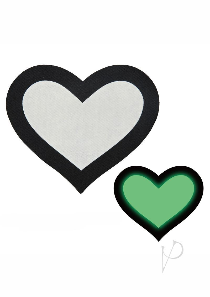 Peekaboo Glow In The Dark Hearts Pasties - Black/green