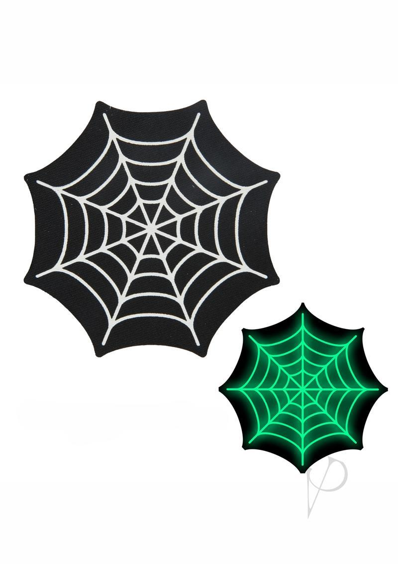 Peekaboo Glow In The Dark Webs Pasties - Black/green